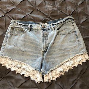 Free People Lace Bottom Shorts